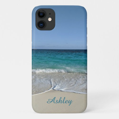 Blue Ocean waves on a Caribbean beach V2 iPhone 11 Case