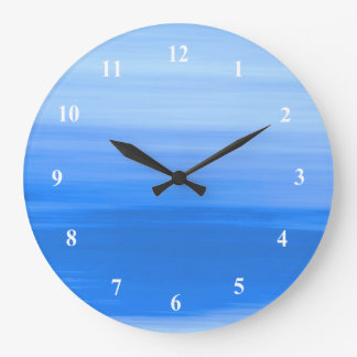 Blue ocean waves with soft shades of blue colors large clock