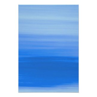 Blue ocean waves with soft shades of blue colors poster