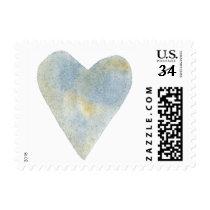 Blue Ochre Watercolor Heart Postage