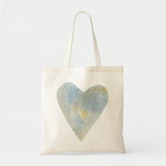 Blue Ochre Watercolor Heart Tote Bag