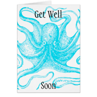 Blue ocopus Get Well Soon Card