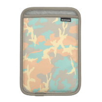 Blue/Ocra/Gray/Beige Camo Pattern iPad Mini Sleeve