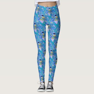 Beach Themed Blue octopus and tropical fish leggings