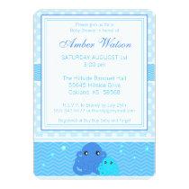 Blue Octopus Baby Shower Invitation