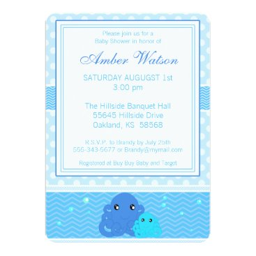 Toddler & Baby themed Blue Octopus Baby Shower Invitation