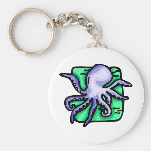 Blue Octopus Basic Round Button Keychain