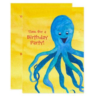 Blue Octopus Birthday Party Invitation