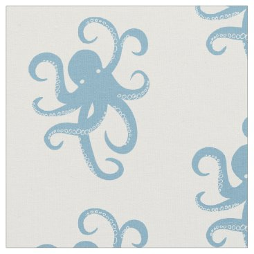 Beach Themed Blue Octopus Fabric