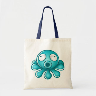 Blue Octopus Japanese Logo Tote Bags