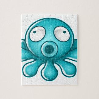 Blue Octopus Japanese Logo Jigsaw Puzzle