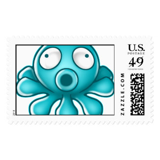 Blue Octopus Japanese Logo Postage