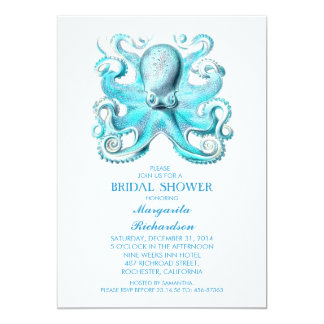 blue octopus nautical beach bridal shower card