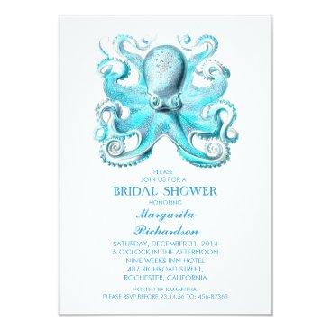 Beach Themed blue octopus nautical beach bridal shower card