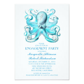 blue octopus nautical beach engagement party card
