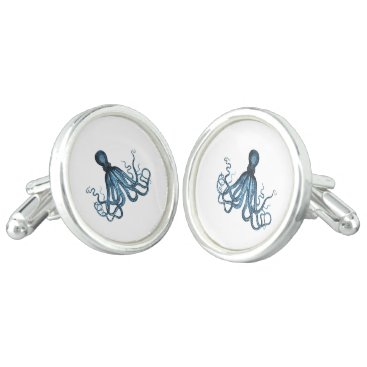 Beach Themed Blue octopus nautical coastal gifts cufflinks