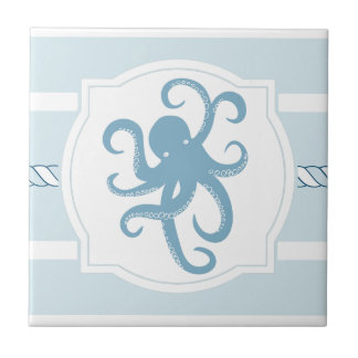 Blue octopus nautical style stripes ceramic tile