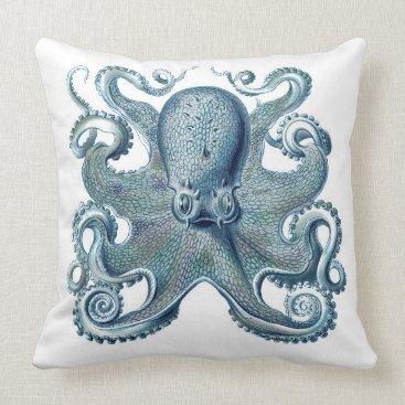 Beach Themed Blue Octopus on White, Nautical Throw Pillow