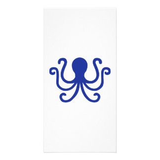 Blue octopus photo card