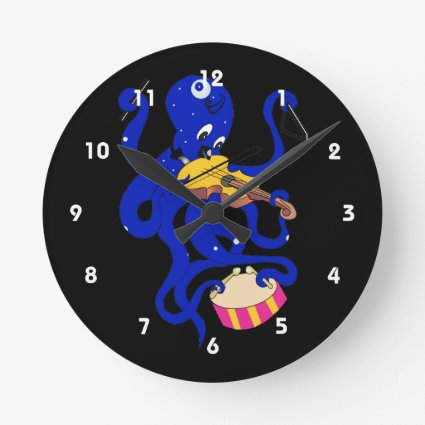 blue octopus playing multiple percussion.png wallclocks