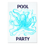 Blue Octopus Pool Party 5x7 Paper Invitation Card