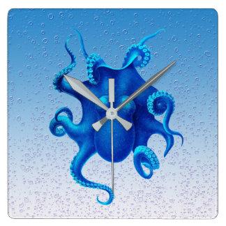 Blue Octopus Pop Square Wall Clock