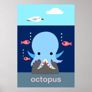 Blue Octopus Poster