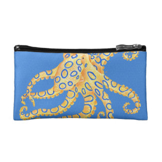 Blue Octopus Stained Glass Makeup Bag