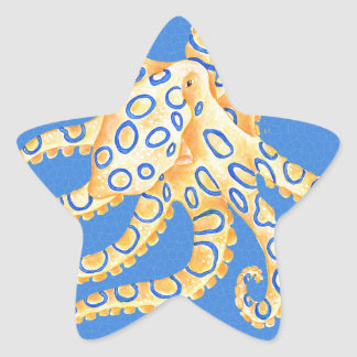 Blue Octopus Stained Glass Star Sticker
