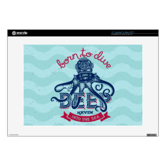 Blue Octopus & Text Illustration Born To Dive Decals For Laptops