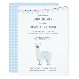 Blue & Off-White Gender Neutral Llama Baby Shower