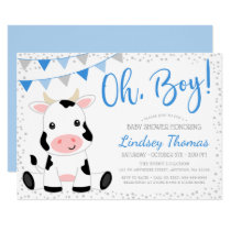 Blue Oh Boy Cow Baby Shower Invitation