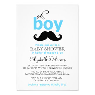 Blue Oh It's a Boy Mustache Baby Shower Invitation