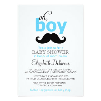 Blue Oh It's a Boy Mustache Baby Shower Invitation