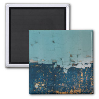 Blue old peeling paint texture 2 inch square magnet