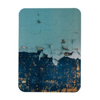Blue old peeling paint texture rectangular photo magnet