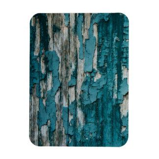 Blue Old Peeling Paint Wood Wall Texture Rectangular Photo Magnet
