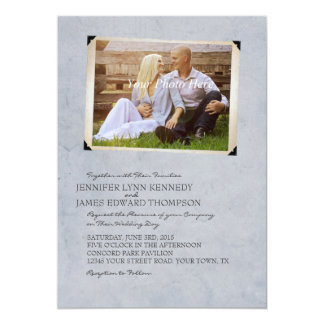 Blue Old Photo Album Page Wedding Invitations