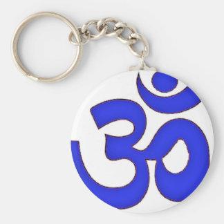 BLUE om,aum,sanskrit, mantra, yoga, tantra Keychain
