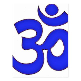BLUE om,aum,sanskrit, mantra, yoga, tantra Postcard
