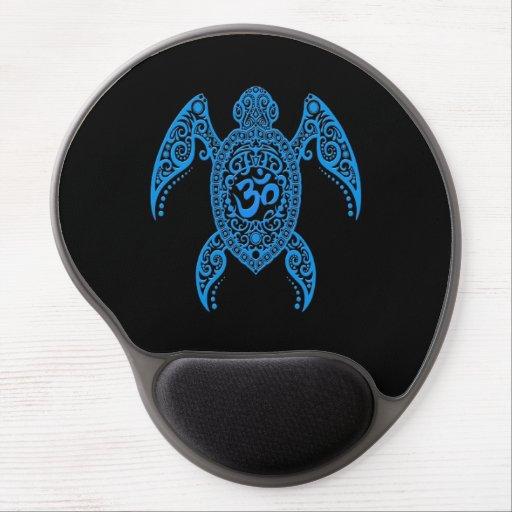 Blue Om Sea Turtle on Black Gel Mouse Mat