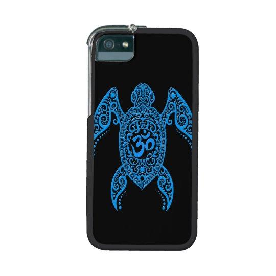 Blue Om Sea Turtle on Black iPhone SE/5/5s Cover