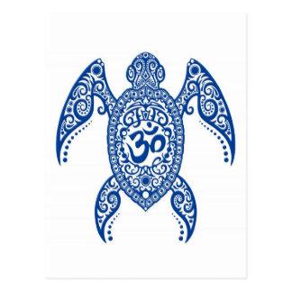 Blue Om Sea Turtle on White Postcard