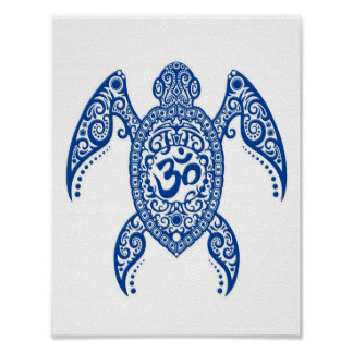 Blue Om Sea Turtle on White Poster