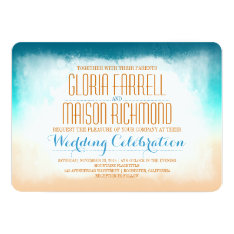 Blue ombre beach wedding invitation at Zazzle