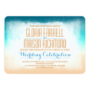 Blue ombre beach wedding invitation