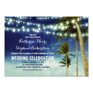 blue ombre beach wedding invitations