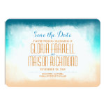 Blue ombre beach wedding save the date invites