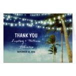 blue ombre beach wedding thank you cards