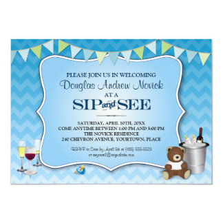 Blue Ombre Chevron Baby Sip and See Card